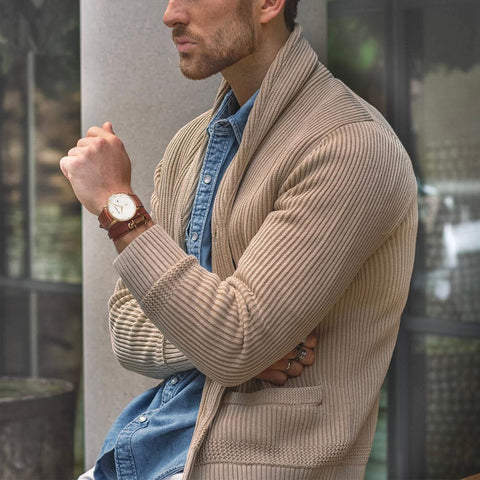 Stylish Light Khaki Lapel Dark Striped Knit Sweater