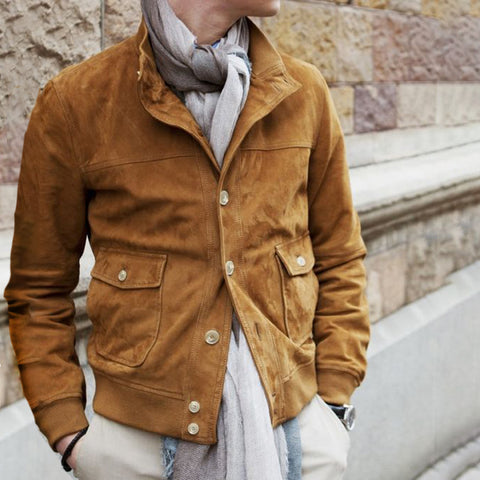 Mens Casual Solid Color Buttoned Jacket
