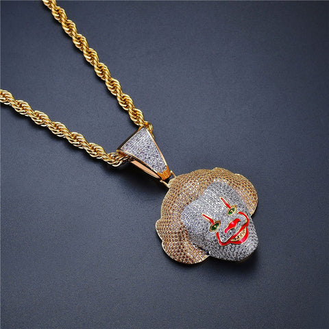 Classic clown head with zircon necklace