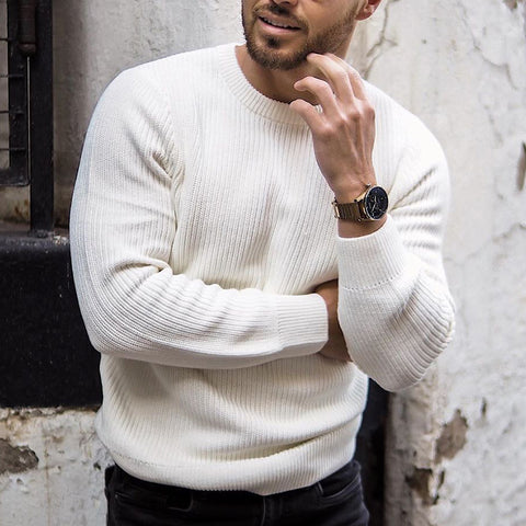 Mens Brief Round Neck Solid Colour Sweater