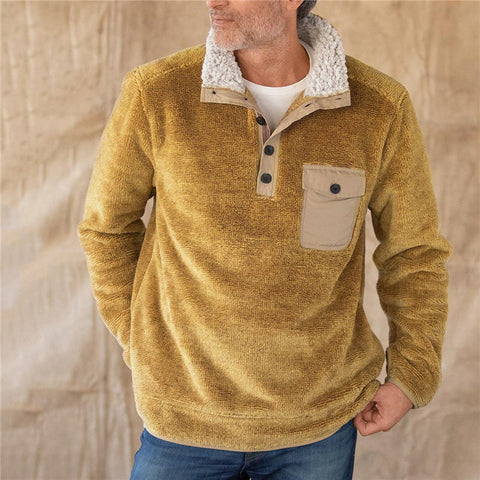 Men's vintage solid color lapel sweatshirt