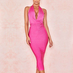 Musho Station:ABodycon Bandage Halter V Neck Backless Club Dress Rose Red Celebrity Evening Party Dress,