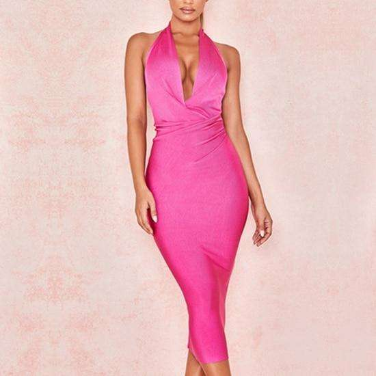 Musho Station:ABodycon Bandage Halter V Neck Backless Club Dress Rose Red Celebrity Evening Party Dress,,Musho Station,Musho Station