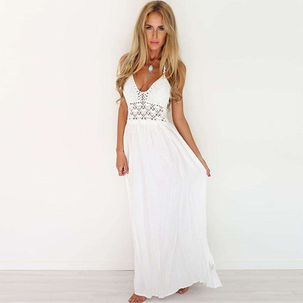Musho Station:Backless Halter Long Deep V-Neck High Waist White Dress,