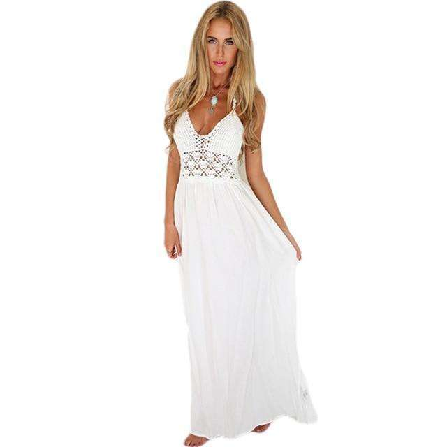Musho Station:Backless Halter Long Deep V-Neck High Waist White Dress,,Musho Station,Musho Station