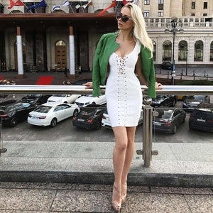 Musho Station:Bandage Dress Lace Up Sleeveless Body-con Club Dresses,