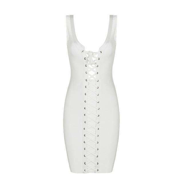 Musho Station:Bandage Dress Lace Up Sleeveless Body-con Club Dresses,,Musho Station,Musho Station