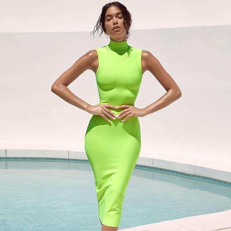 Musho Station:Bandage Dress Sleeveless Green Tank Bodycon Club Dresses Celebrity Evening Party Dress,