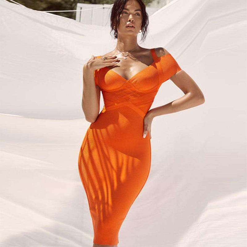 Musho Station:Bandage Orange V Neck Off Shoulder Club Bodycon Midi Dress Celebrity Party Dress,