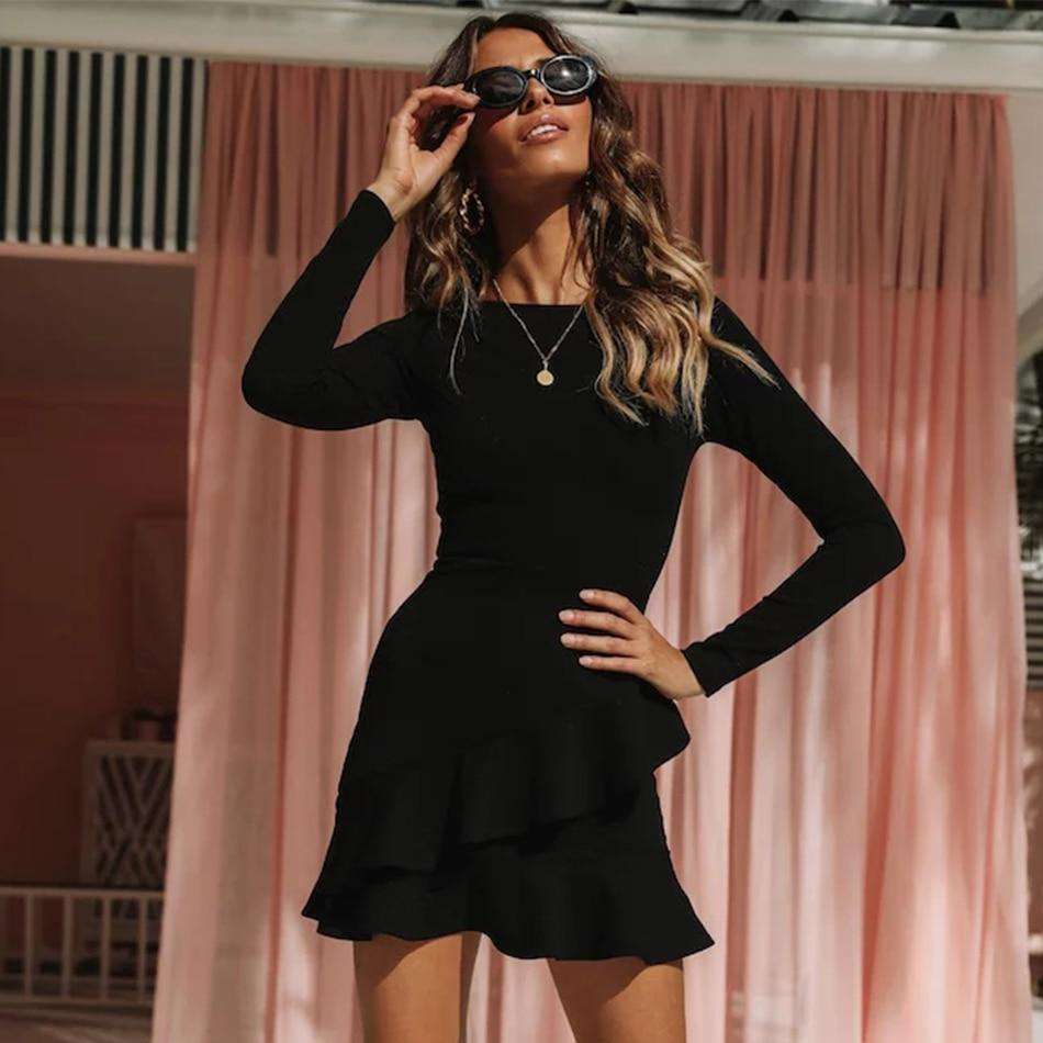Musho Station:Bandage Women Long Sleeve Black Ruffles Mini Club Dress,