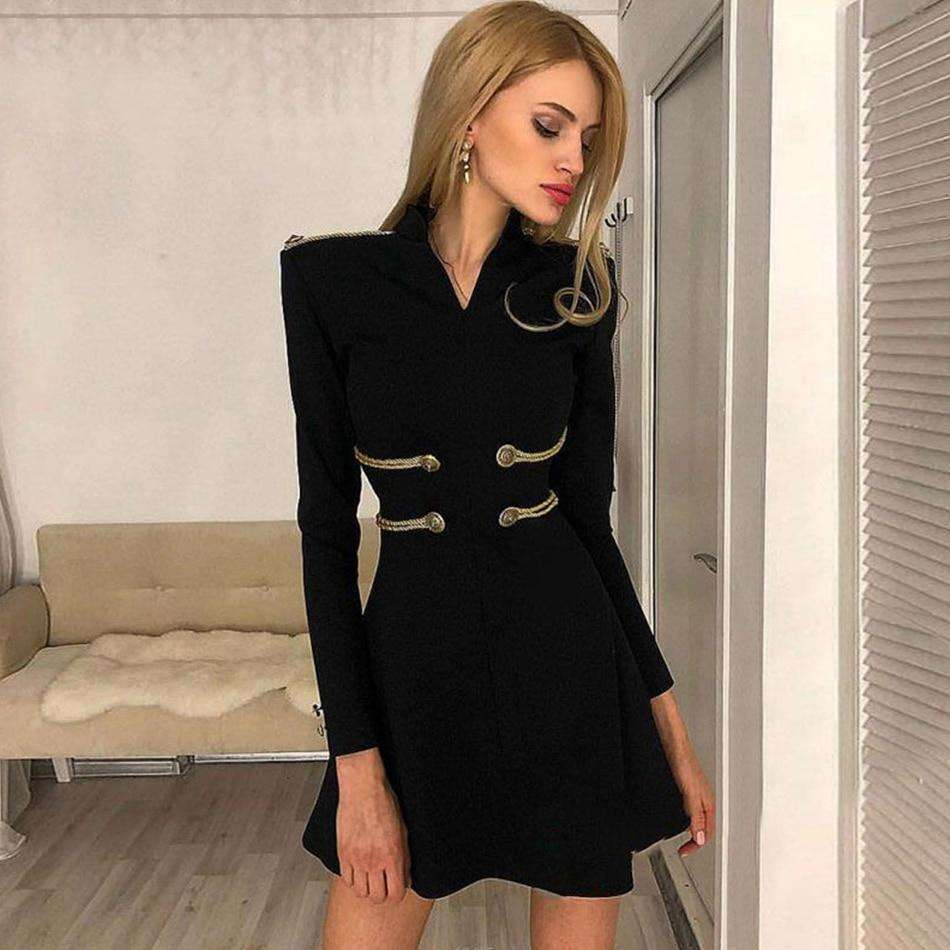 Musho Station:Black Bandage Long Sleeve O Neck Mini Club Dress,