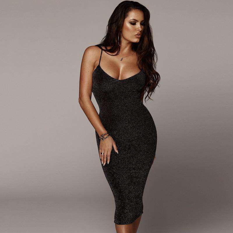 Musho Station:Black glitter sleeveless Spaghetti Straps elegant body-con midi dress,