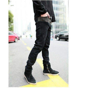Musho Station:Black Hiphop Washed Fashion Designer Denim Skinny Jeans,Denim