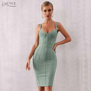 Musho Station:Bodycon Bandage Spaghetti Strap Sleeveless Club Dress Midi Celebrity Evening Party Dress,,Musho Station,Musho Station