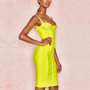 Musho Station:Bodycon Bandage Spaghetti Strap Sleeveless Club Dress Midi Celebrity Evening Party Dress,