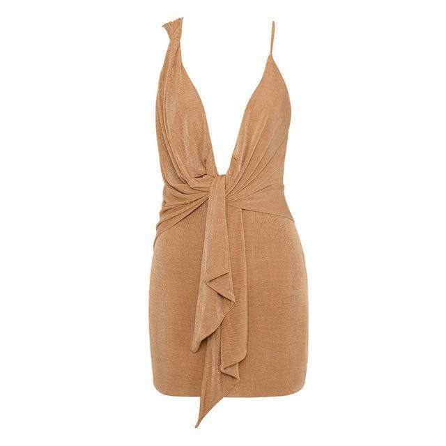 Musho Station:Bodycon Mini Deep V Neck Party  Spaghetti Straps Nightclub Dress,,Musho Station,Musho Station