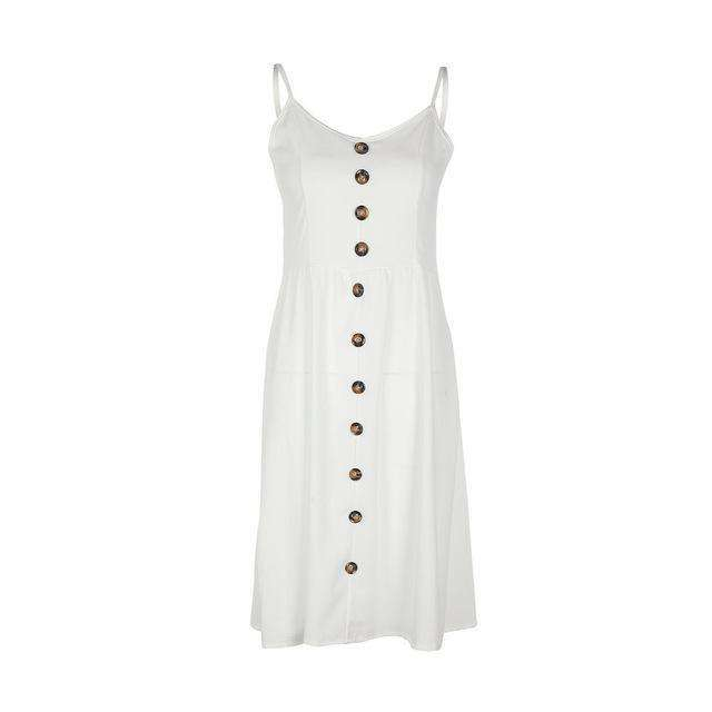 Musho Station:Boho Casual Button Loose Midi Dress,,Musho Station,Musho Station