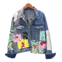 Musho Station:Boho female autumn vintage cartoon pattern Embroidery long sleeve denim jacket,