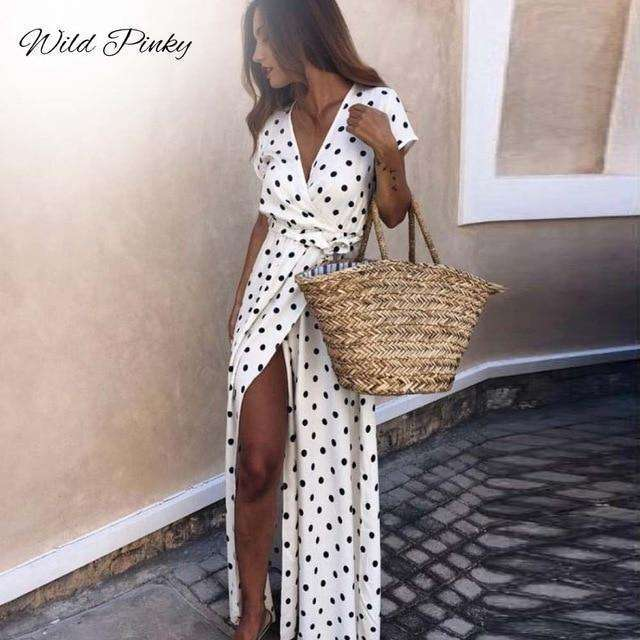 Musho Station:Boho Polka Dot Long Split Short Sleeve Summer Casual Dress,,Musho Station,Musho Station