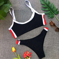 Musho Station:Brazilian Bikinis Pachwork High Cut Swimsuit Set Push Up Bathing Suit,,Musho Station,Musho Station