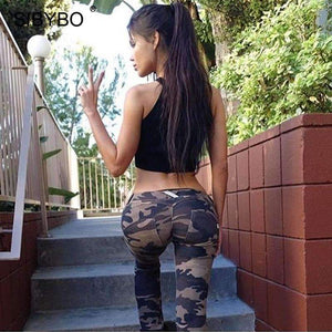 Musho Station:Camouflage Print Bodycon Low Waist Skinny Legging,