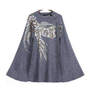 Musho Station:Cashmere Cloak Coat birds eagle pattern handmade beading sequins embroidered Batwing Sleeve Coat,,Musho Station,Musho Station
