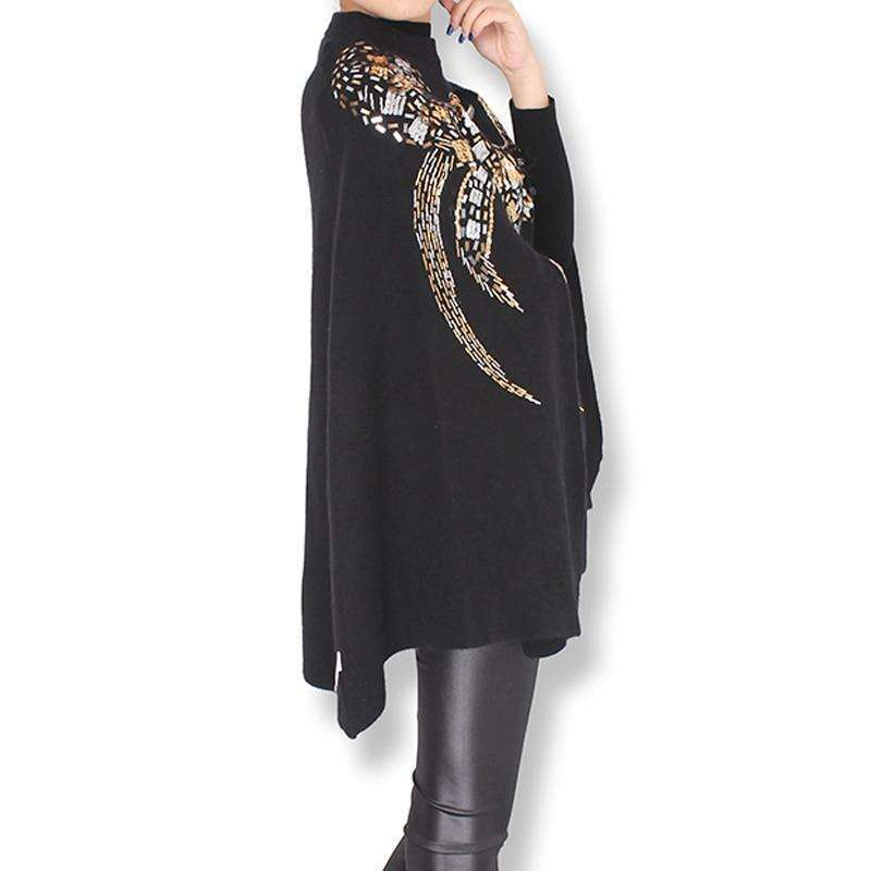 Musho Station:Cashmere Cloak Coat birds eagle pattern handmade beading sequins embroidered Batwing Sleeve Coat,
