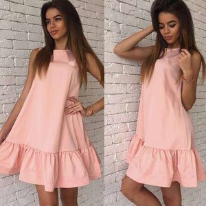 Musho Station:Casual Club Sleeveless Women Pleated MiNi Dress,,Musho Station,Musho Station