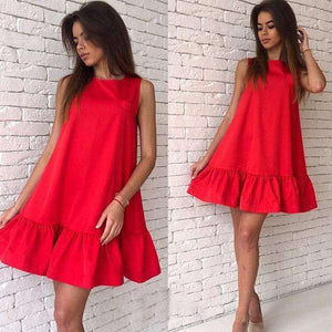 Musho Station:Casual Club Sleeveless Women Pleated MiNi Dress,