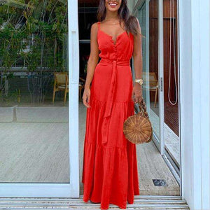 Musho Station:Casual Fashion Lace Sling Long Dress,,Musho Station,Musho Station
