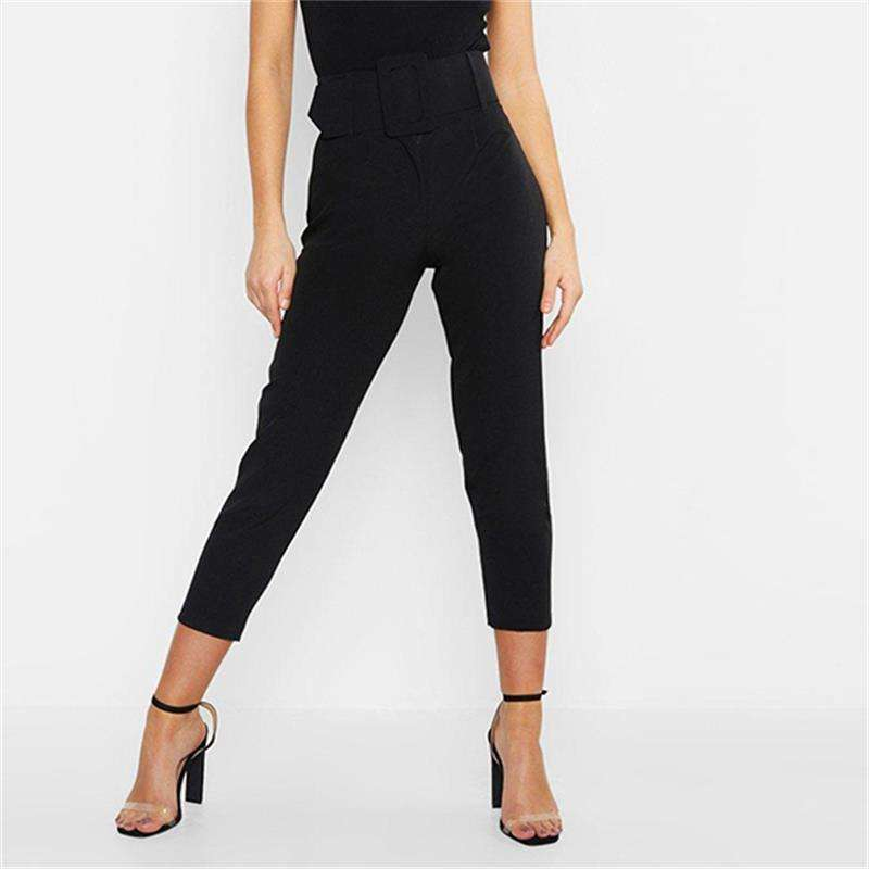 Musho Station:Casual High Waist Pencil Pants Ankle Length Pants Straight Leg Sashes,