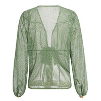Musho Station:Casual See Through Crop Top,