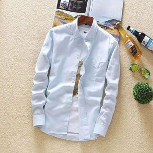 Musho Station:Casual Solid Long Sleeve Slim Fit Shirts,,Musho Station,Musho Station