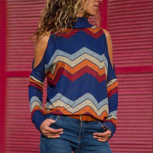 Musho Station:Cold Shoulder Tops Casual Turtleneck Knitted Top,,Musho Station,Musho Station