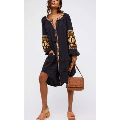 Musho Station:Cotton floral embroidery large lantern long sleeve o-neck loose style dress,,Musho Station,Musho Station