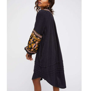 Musho Station:Cotton floral embroidery large lantern long sleeve o-neck loose style dress,