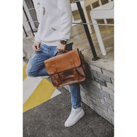 Musho Station:Crazy Horse PU Leather Retro casual Men's Handbag similar to British Postman Briefcase Shoulder Bag Messenger bag laptop,