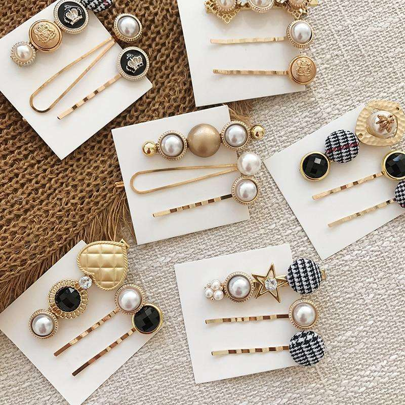 Musho Station:Crown Metal Star Bees Hairpin Houndstooth Button Pearl Side Hair Clip for Women Girl Weeding Hair,