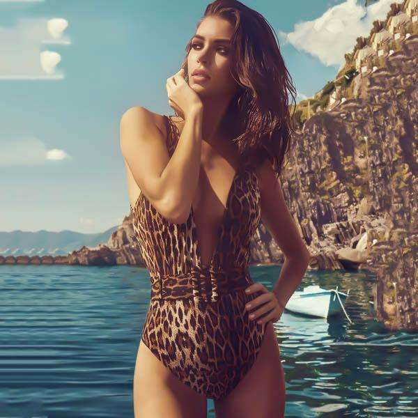 Musho Station:Deep V-Neck Women One Piece Bodysuit Swimsuits,