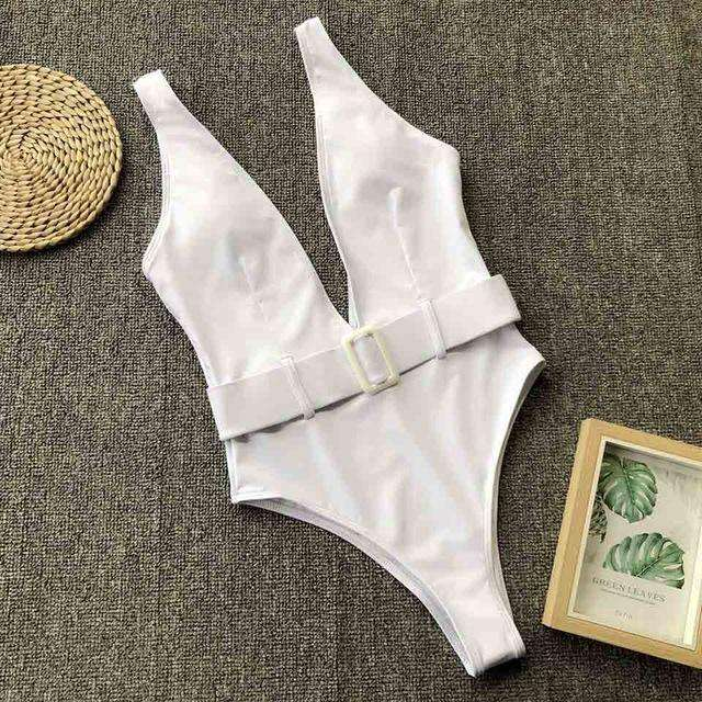 Musho Station:Deep V-Neck Women One Piece Bodysuit Swimsuits,,Musho Station,Musho Station