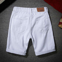 Musho Station:Denim Shorts With Holes Short Cotton stretches Casual Denim Shorts,