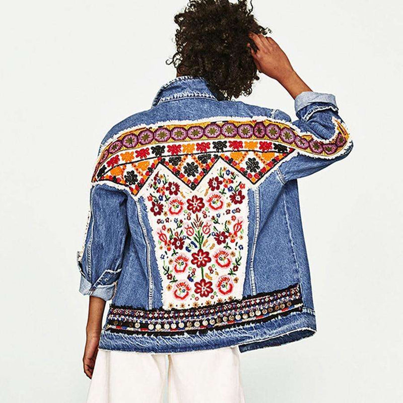 Musho Station:Denim vintage floral appliques Embroidery boho jacket,