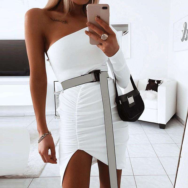 Musho Station:Draped mini side slit one shoulder elegant body-con dress,,Musho Station,Musho Station