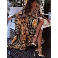 Musho Station:Elegant Women Boat Neck Glitter Deep V Neck Print Party Dress,,Musho Station,Musho Station