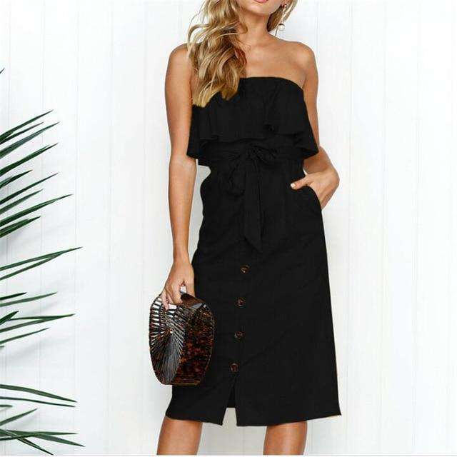 Musho Station:Fashion Casual Summer Solid Off Shoulder Dress Women,,Musho Station,Musho Station