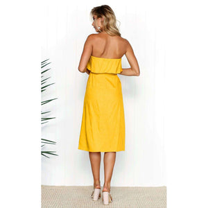 Musho Station:Fashion Casual Summer Solid Off Shoulder Dress Women,