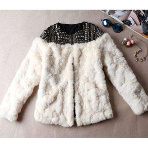 Musho Station:Faux Fur Coat hand-made beading rivet long sleeve boho jacket,,Musho Station,Musho Station