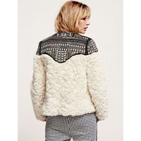 Musho Station:Faux Fur Coat hand-made beading rivet long sleeve boho jacket,