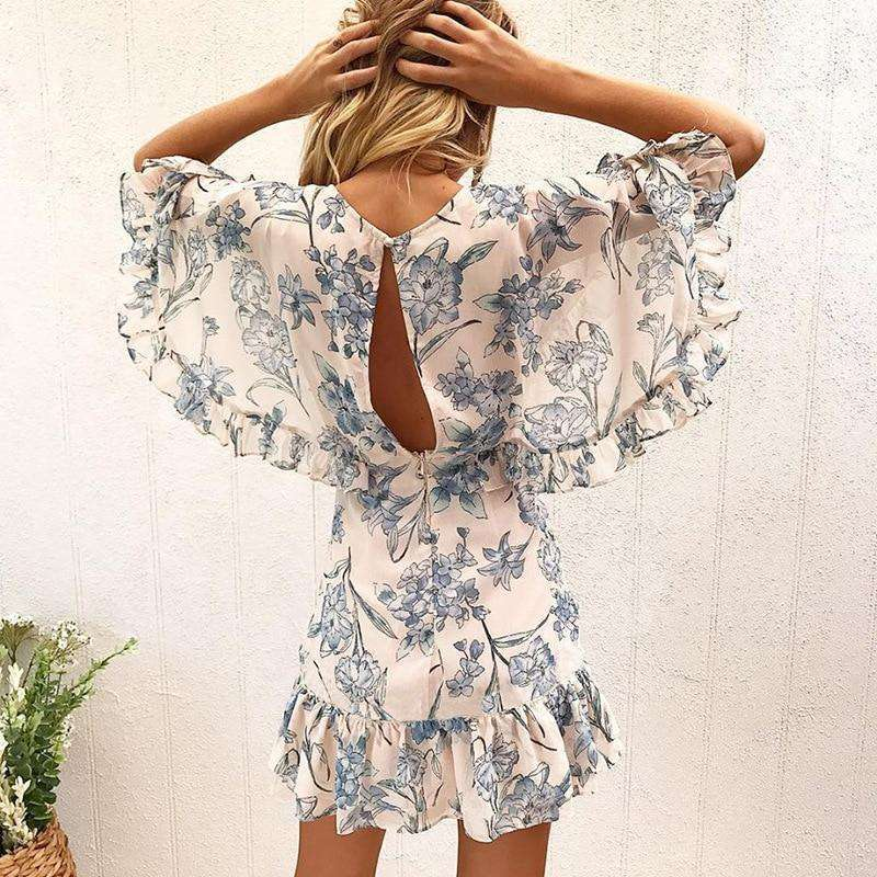 Musho Station:Floral Print Beach Summer Boho Style Ruffles Chiffon Dress,