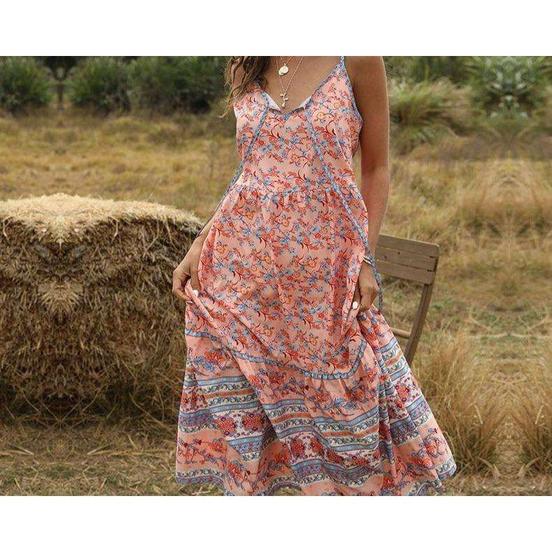 Musho Station:Floral Print Long Dress Vintage Maxi Slip Dress,
